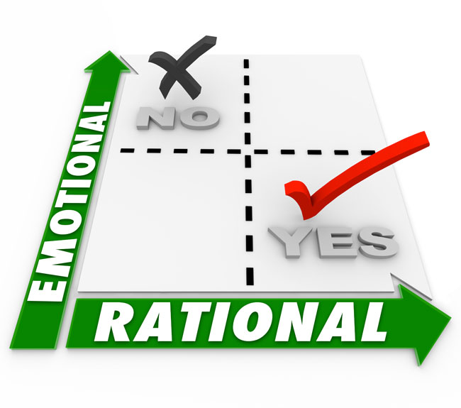 Graph with an emotional axis and a rational axis showing that in a divorce case being rational is more effective than being emotional.